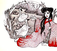 Leisurely Red Geisha  by Lenora Brown