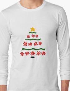 Red Poinsettia Flowers Christmas Tree Long Sleeve T-Shirt