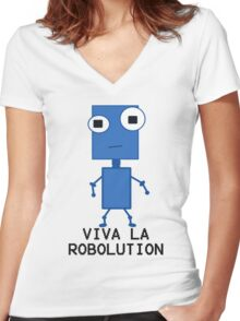 Viva La Robolution Women's Fitted V-Neck T-Shirt