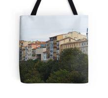 City Behind Wall Tote Bag