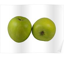 Green Apples on White Poster