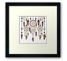 Native American Dreamcatcher Feathers Pattern Framed Print