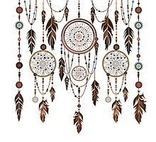 Native American Dreamcatcher Feathers Pattern Photographic Print
