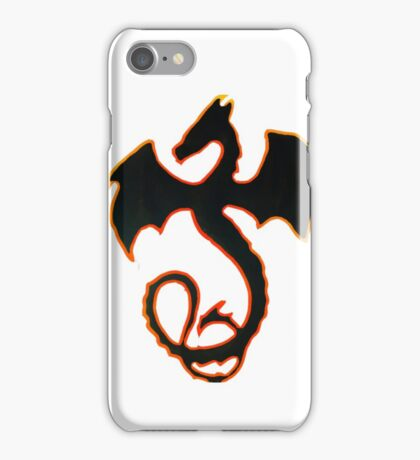 Dragon with flame outline iPhone Case/Skin
