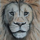 Tinted charcoal lion portrait by gogston