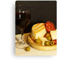 Red, Cheese, Sausage and Olives Canvas Print