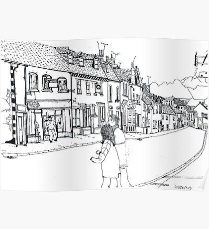'North Street Shops' Pen & Ink Poster