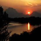 Sunset at Oxbow Bend by Eivor Kuchta