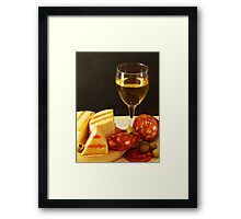 White, Cheese, Sausage and Olives 01 Framed Print