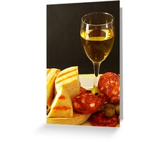 White, Cheese, Sausage and Olives 01 Greeting Card