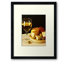 White, Cheese, Sausage and Olives 02 Framed Print