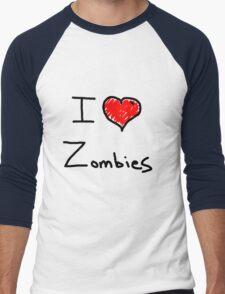i love halloween zombies Men's Baseball ¾ T-Shirt