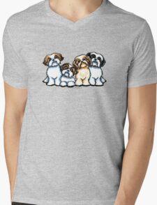 Four Shih Tzu Mens V-Neck T-Shirt