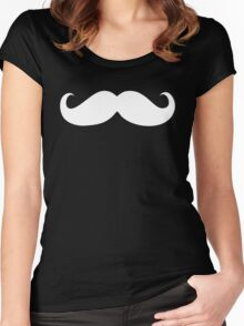 White mustache Women's Fitted Scoop T-Shirt