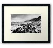 Black and White Beach Framed Print