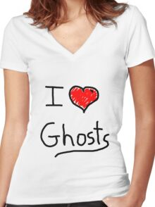 i love halloween ghosts Women's Fitted V-Neck T-Shirt