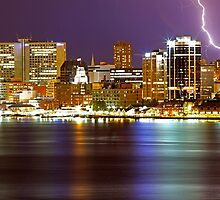 Halifax Night Skyline Lightning by Jamie Roach