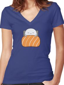 sleepy sushi bed Women's Fitted V-Neck T-Shirt