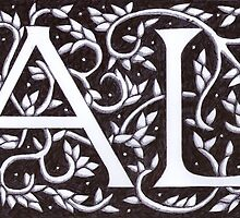 William Morris Inspired A L Monogram by Donna Huntriss