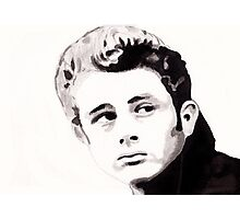 James Dean - Portrait in India Ink by Guy Hoffman Photographic Print