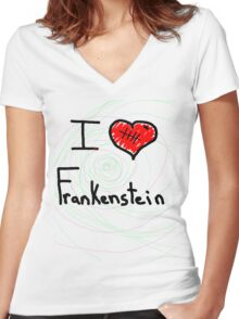 i love Frankenstein halloween   Women's Fitted V-Neck T-Shirt