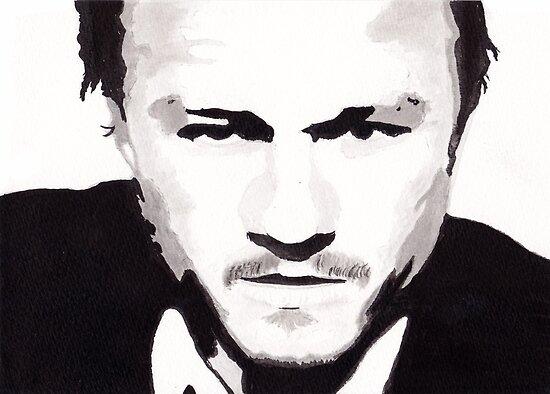 Heath Ledger - Portrait in India Ink by Guy Hoffman by Guy Hoffman (aka creative365)