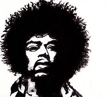 Jimi Hendrix - Portrait in India Ink by Guy Hoffman by Guy Hoffman (aka creative365)