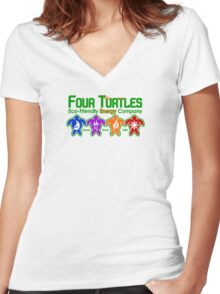Turtle Power Women's Fitted V-Neck T-Shirt