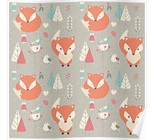 Baby fox pattern 01 Poster