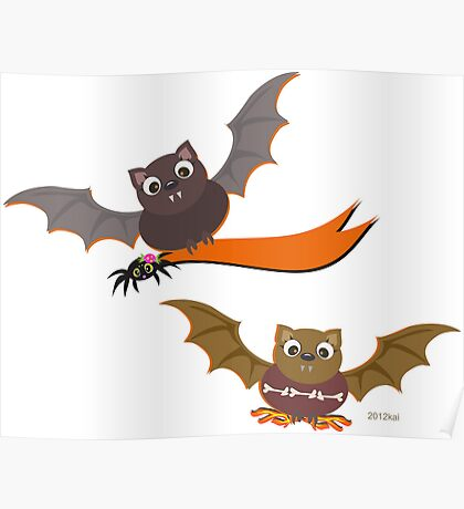 Flying Bats for Halloween Night Poster