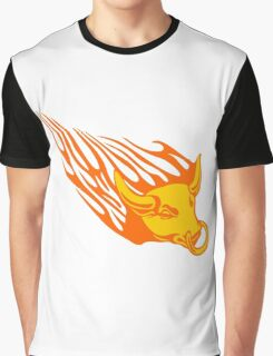 Bull in Flames Graphic T-Shirt