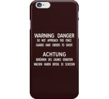 Warning Danger Achtung, Berlin Wall, Germany Sign iPhone Case/Skin