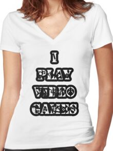 I Play Video Games Women's Fitted V-Neck T-Shirt
