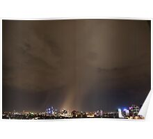 Dramatic rain storm cloud at night over Sydney city, Australia Poster