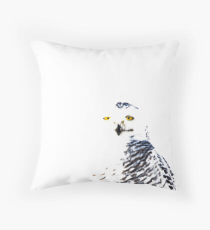 Snowy Owl on White Throw Pillow