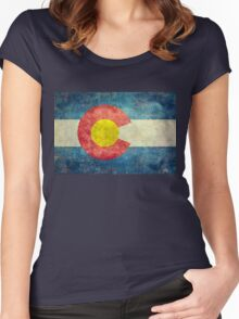 Colorado State Flag with vintage retro style treatment Women's Fitted Scoop T-Shirt