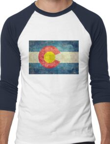 Colorado State Flag with vintage retro style treatment Men's Baseball ¾ T-Shirt