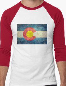 Colorado State Flag with vintage retro style treatment Men's Baseball ¾ T-Shirt
