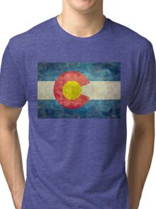 Colorado State Flag with vintage retro style treatment Tri-blend T-Shirt