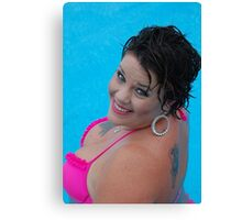 Blue,pink and wet Canvas Print