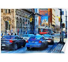 Cars on King Street - Toronto Downtown Poster