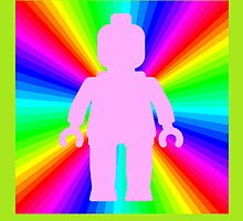 Pink Minifig in front of Rainbow by Customize My Minifig by ChilleeW