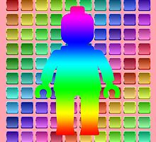 Rainbow Minifig in Front of Buttons, by Customize My Minifig  by ChilleeW