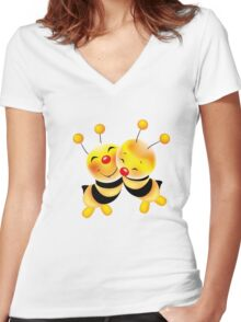 Cut-out of bees in love Women's Fitted V-Neck T-Shirt