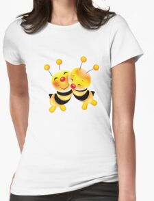 Cut-out of bees in love Womens Fitted T-Shirt