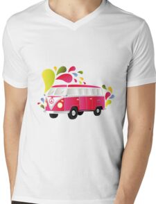 Cut-out of colorful retro splitty Mens V-Neck T-Shirt