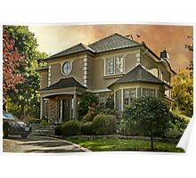 Stucco House in Autumn Poster