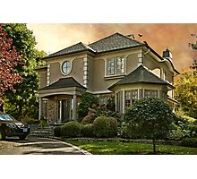 Stucco House in Autumn Photographic Print