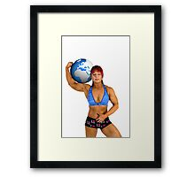 Pin up poster of Female Atlas Framed Print