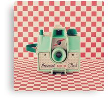 Mint Retro Camera on Red Chequered Background  Canvas Print